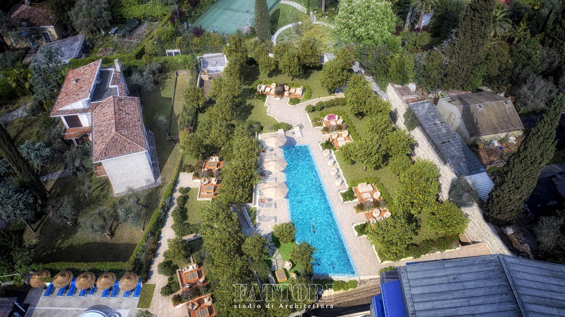 Studio di Architettura Fattori Fausto - Hotel Olivi Sirmione - proposta copertura park con giardino pensile_1