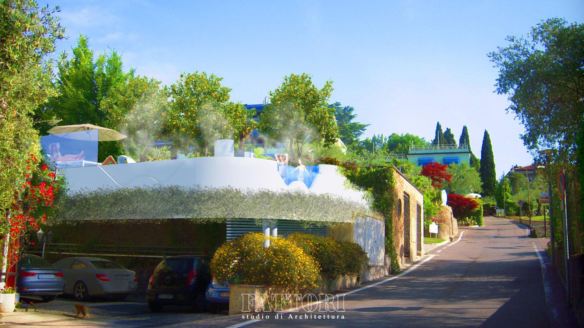 Studio di Architettura Fattori Fausto - Hotel Serenella Sirmione - proposta copertura parcheggio e SPA