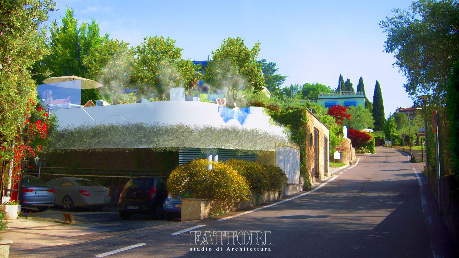 Studio di Architettura Fattori Fausto - Hotel Serenella Sirmione - proposta copertura parcheggio e SPA_dopo2