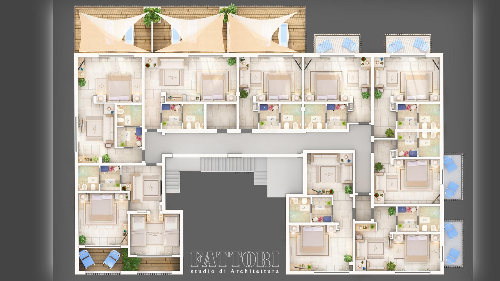 Studio di Architettura Fattori Fausto - Hotel Baia delle Zagare - Mattinata - Proposta progetto riorganizzazione interna camere